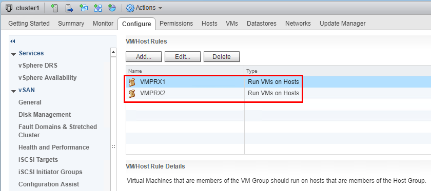 After-both-VM-host-rules-have-been-created Configuring Veeam Virtual Appliance Mode for VMware vSAN