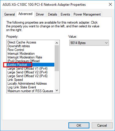 Asus XG-C100C 10G NIC Windows Server 2016 VLANs Jumbo Frames