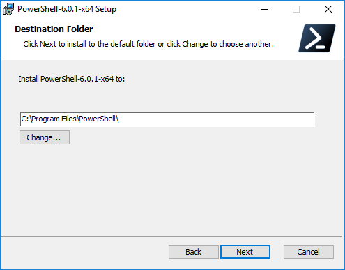 Choose-the-default-installation-directory-for-PowerShell-Core-in-Windows-10 Installing PowerShell Core PowerCLI 10.0 in Windows 10