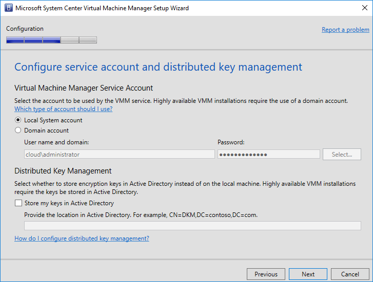 Configure-service-account-and-distributed-key-management- System Center Virtual Machine Manager 1801 New Features and Installation