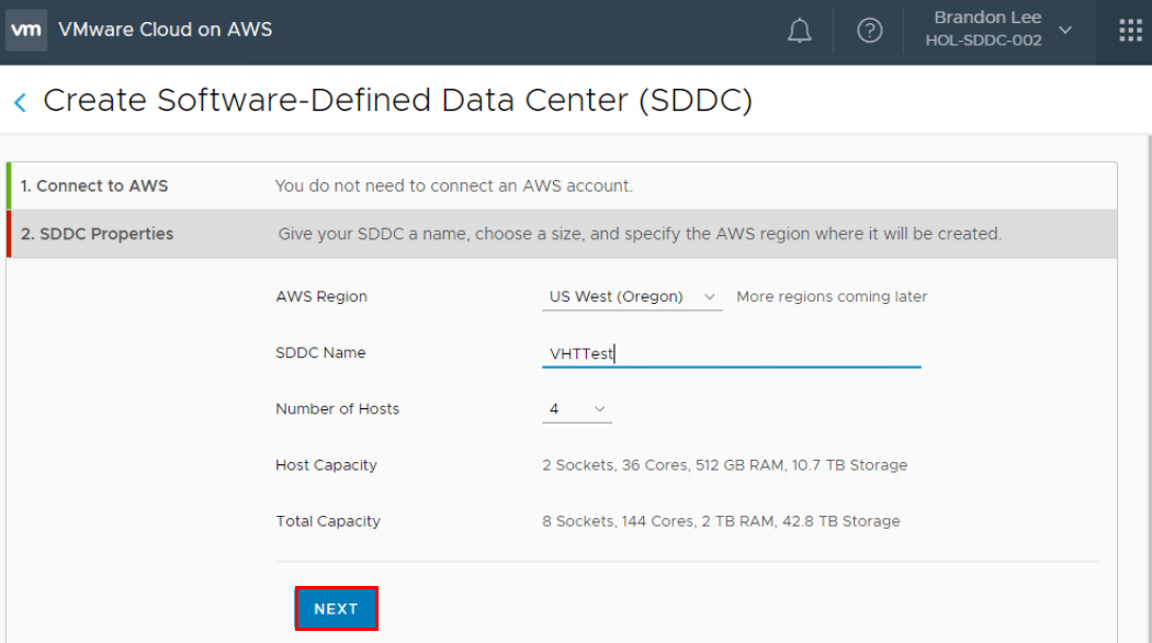 Create-Software-Defined-Data-Center-Wizard-2 What is VMware Cloud on AWS?