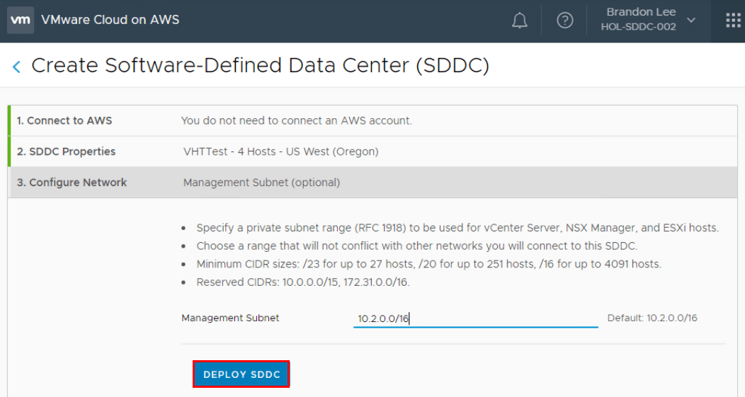 Create-Software-Defined-Data-Center-Wizard-3 What is VMware Cloud on AWS?