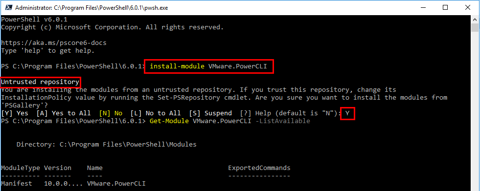 Installing-PowerCLI-10.0-in-PowerShell-Core-in-Windows-10 Installing PowerShell Core PowerCLI 10.0 in Windows 10