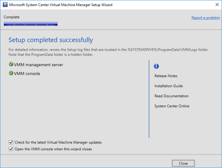 SCVMM-1801-installation-succeeds System Center Virtual Machine Manager 1801 New Features and Installation