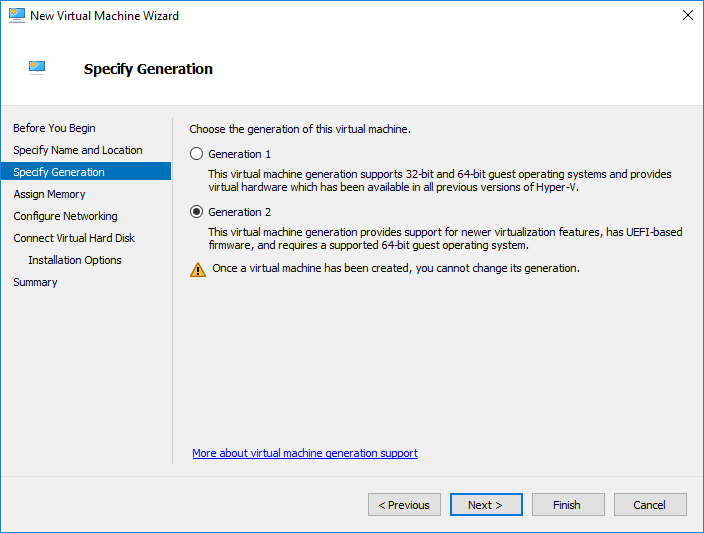Specify-the-Hyper-V-generation-of-the-virtual-machine Installing and Configuring Windows Server 2019 and Project Honolulu