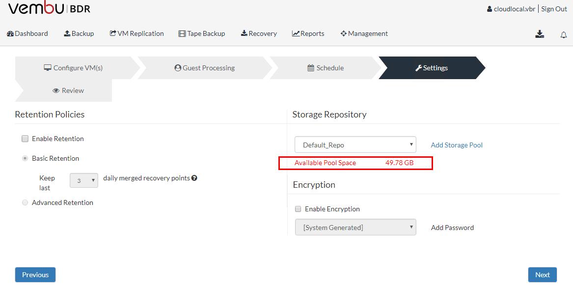 Vembu-BDR-Suite-Backup-job-default-repository-location