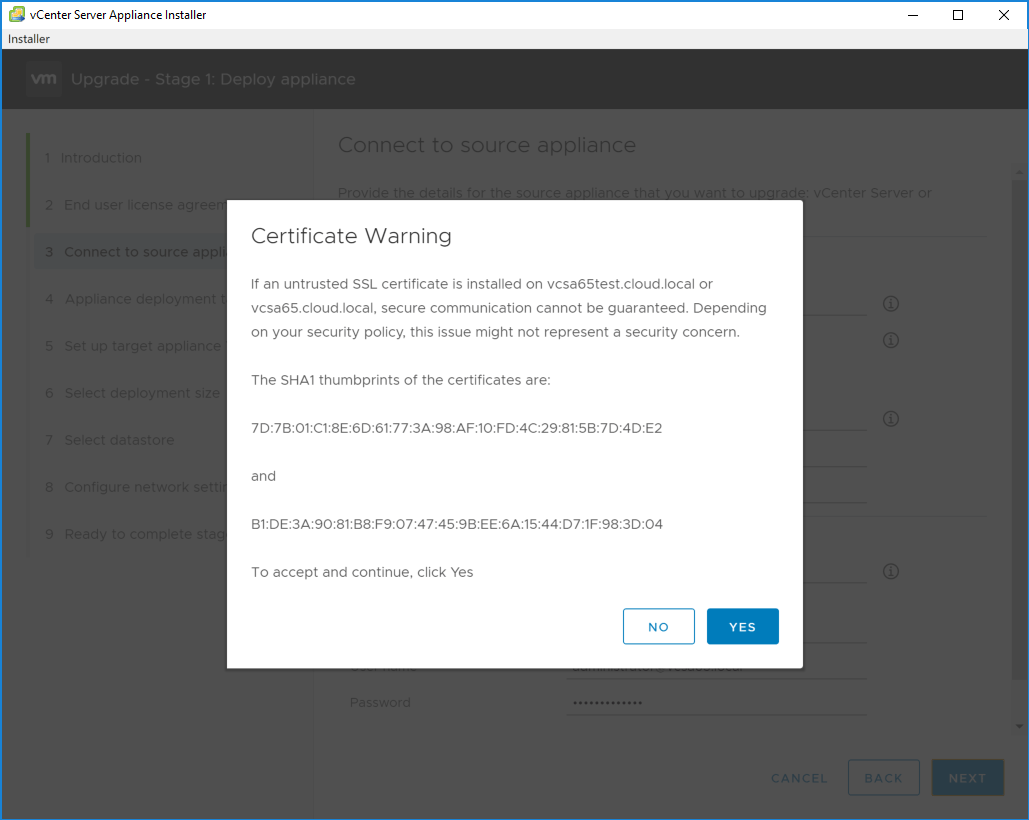 Accept-the-certificate-warning-1 Upgrading to VMware vCenter Server VCSA 6.7