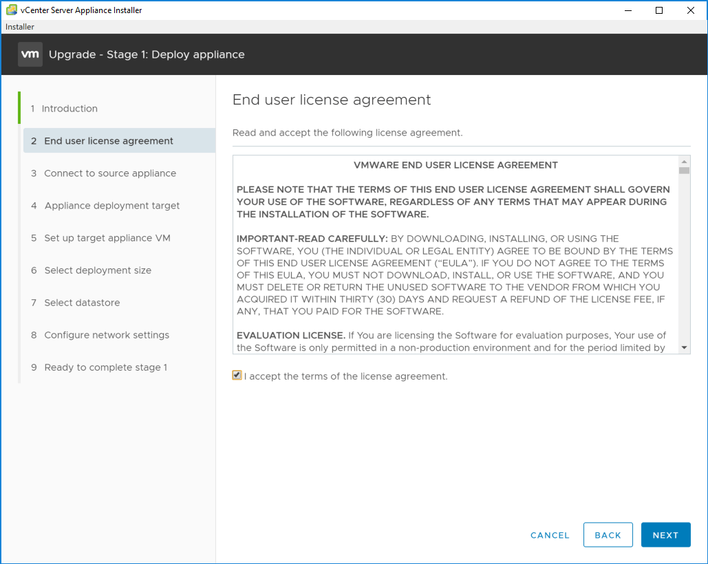 Accepting-the-EULA-in-the-stage-1-process Upgrading to VMware vCenter Server VCSA 6.7