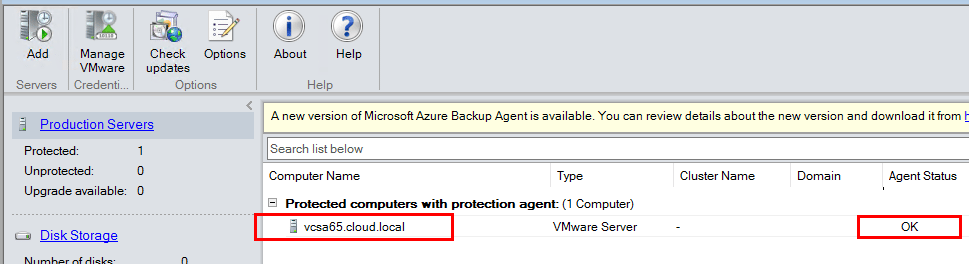Agent-status-for-vCenter-Server-should-show-status-of-OK Connect VMware vCenter to Microsoft Azure Backup Server