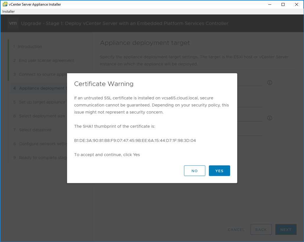 Certificate-warnring-for-the-appliance-deployment-target Upgrading to VMware vCenter Server VCSA 6.7
