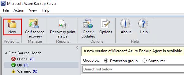 Click-the-new-folder-icon-to-get-started-creating-a-new-Microsoft-Azure-Backup-Server-Protection-Group Create VMware Data Protection Group Microsoft Azure Backup Server