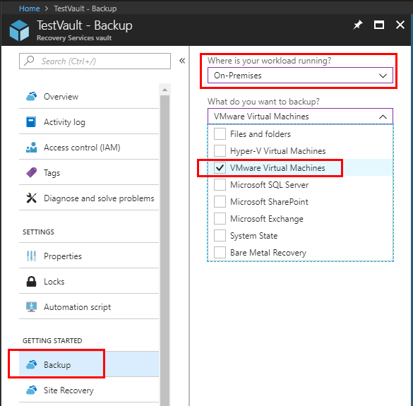 Configure-the-type-of-backup-service-used-with-the-Recovery-Services-Vault Installing and Configuring Microsoft Azure Backup Server