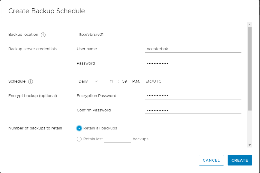 Creating-a-backup-schedule-for-VCSA-6.7-appliance VMware vCenter Server VCSA 6.7 Backup Schedule Feature Configuration