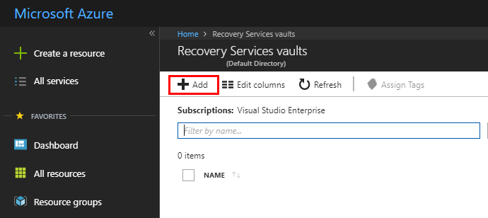 Search-for-Recovery-Services-Vault-and-Add-a-new-Vault-in-Azure Installing and Configuring Microsoft Azure Backup Server