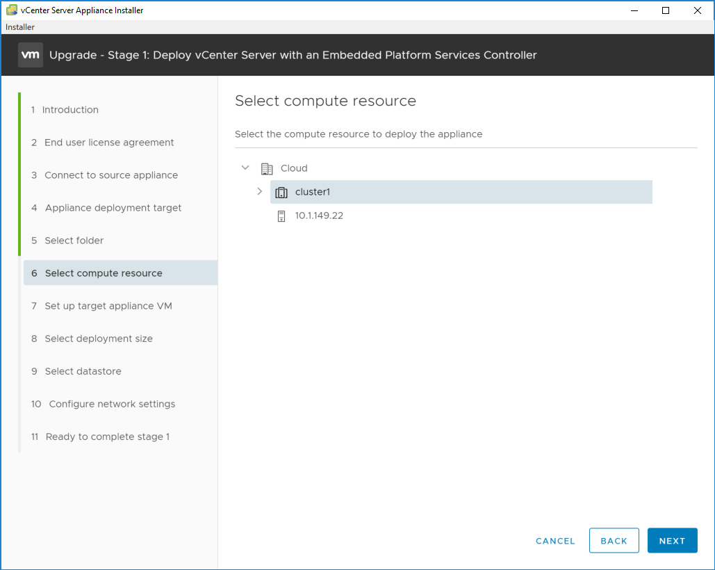 Select-the-computer-resource-to-deploy-the-VCSA-6.7-appliance Upgrading to VMware vCenter Server VCSA 6.7