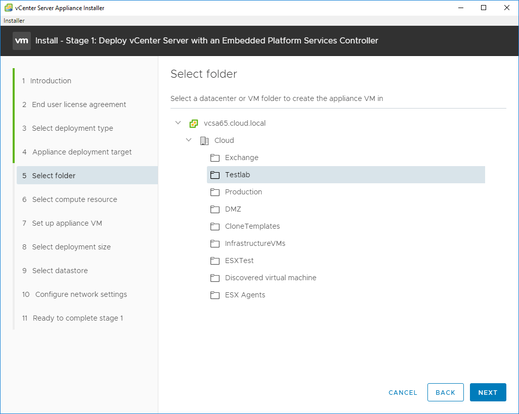Select-the-folder-in-vCenter-to-deploy-the-new-VCSA-6.7-appliance VMware VCSA 6.7 New Features Installation and Configuration