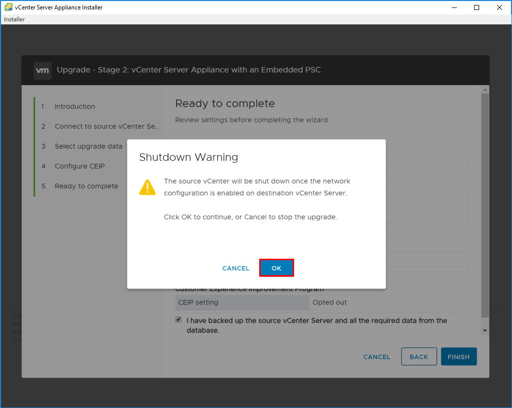 Shutdown-warning-of-source-VCSA-appliance Upgrading to VMware vCenter Server VCSA 6.7