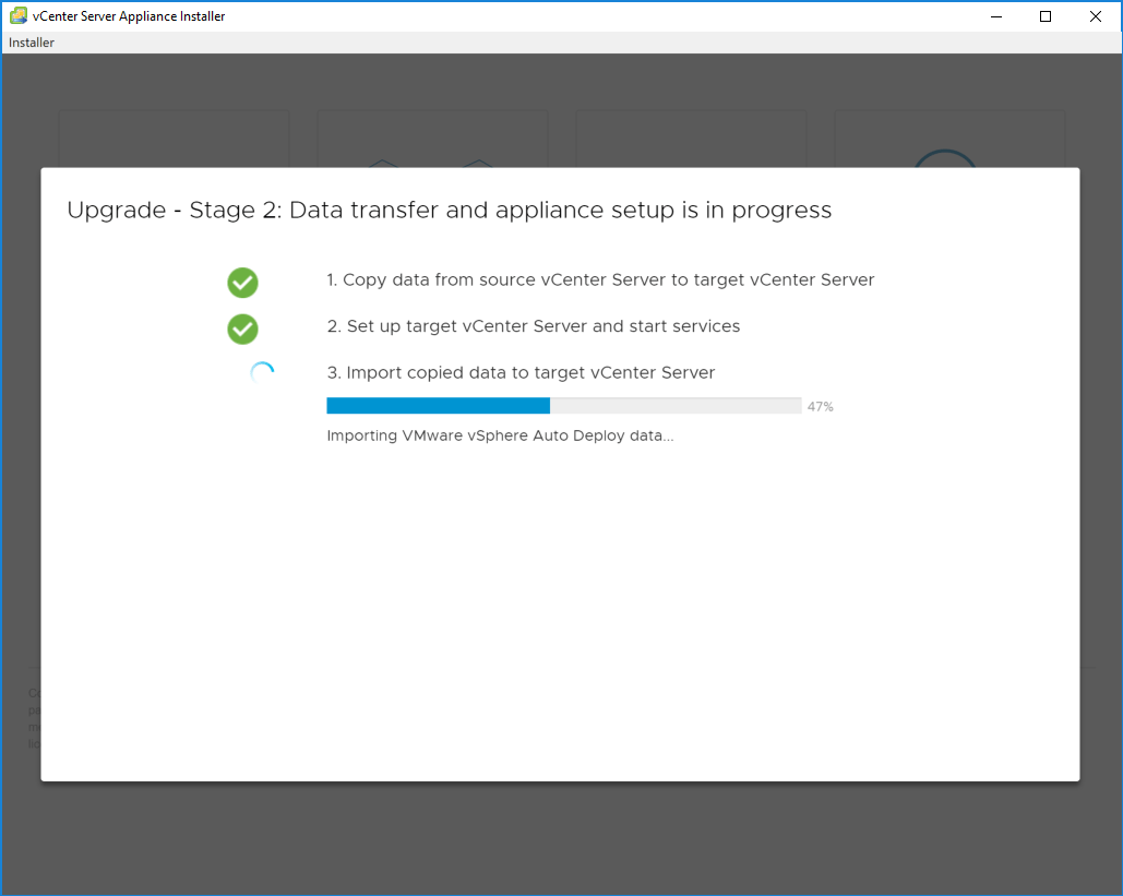 Stage-2-Import-copied-data-into-the-target-VCSA-6.7-appliance Upgrading to VMware vCenter Server VCSA 6.7