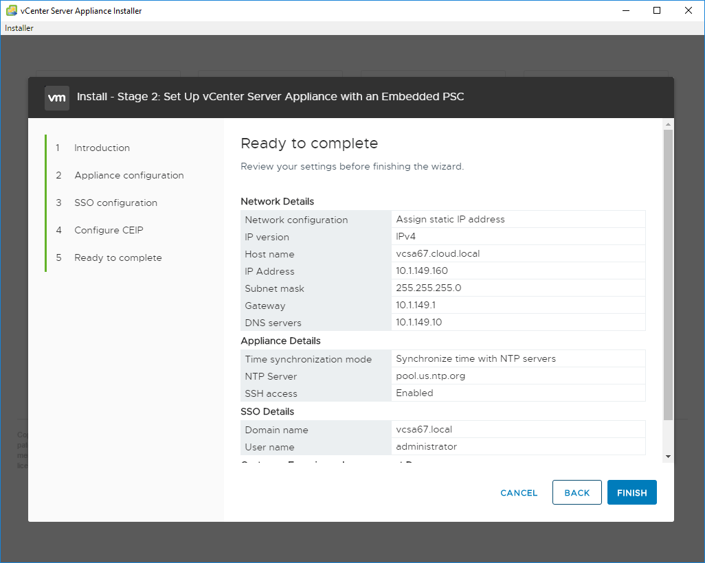 Summary-of-Stage-2-configuration VMware VCSA 6.7 New Features Installation and Configuration
