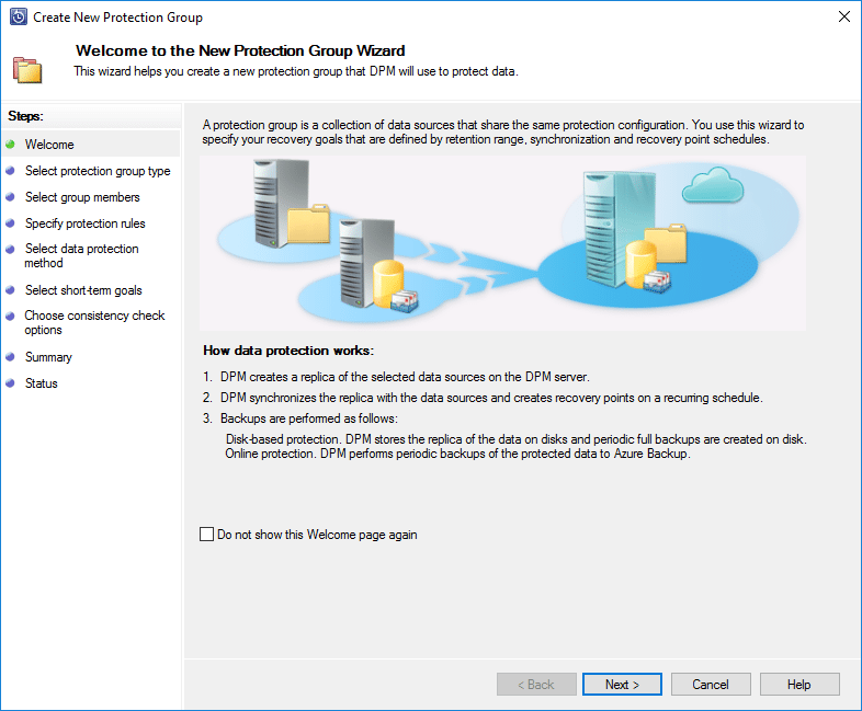 The-new-protection-group-wizard-begins Create VMware Data Protection Group Microsoft Azure Backup Server