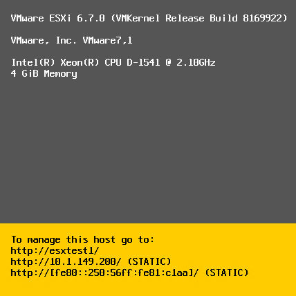 The-upgraded-ESXi-6.7-host-boots-to-the-DCUI-splash-screen VMware vSphere ESXi 6.7 New Features Installing and Upgrading