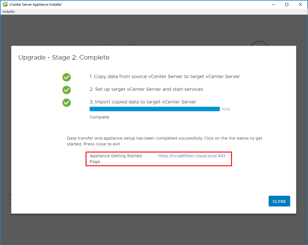 Upgrade-to-VCSA-6.7-appliance-is-complete Upgrading to VMware vCenter Server VCSA 6.7