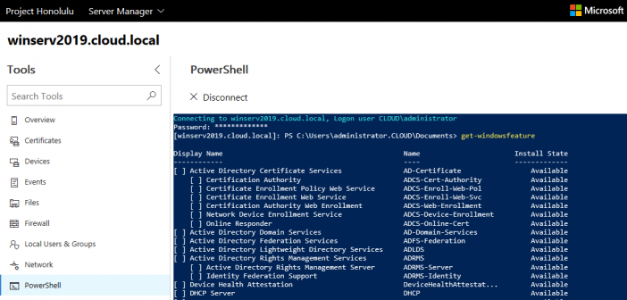 Windows Server 2019 Installing Roles and Features with