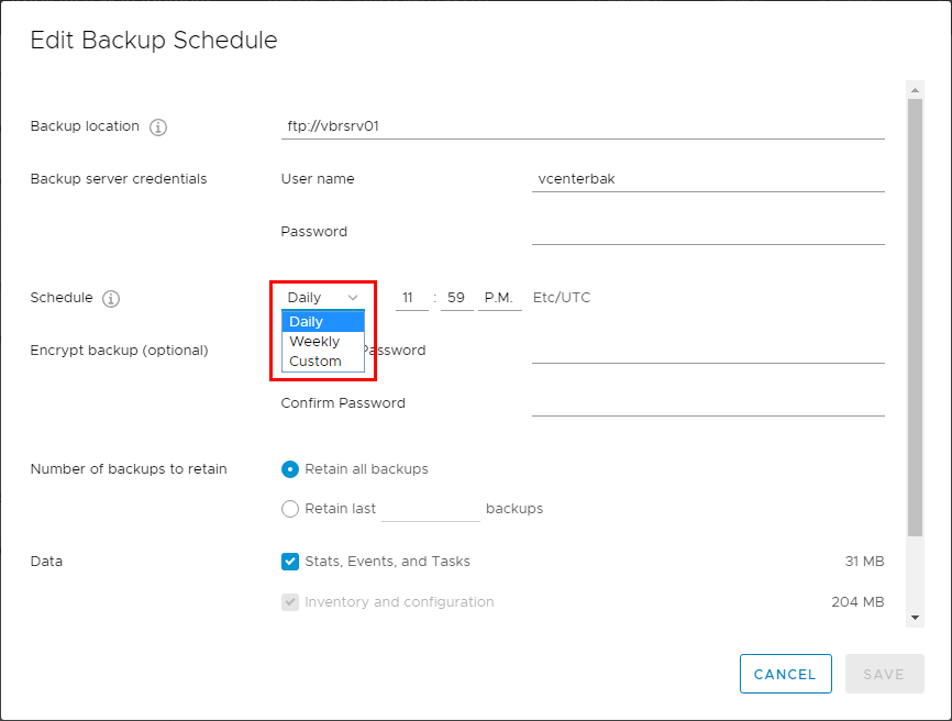 VCSA-6.7-Backup-Schedule-frequency-options VMware vCenter Server VCSA 6.7 Backup Schedule Feature Configuration