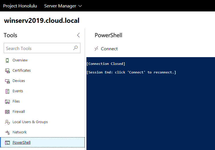 Windows-Server-2019-Project-Honolulu-PowerShell-Connection-Closed Windows Server 2019 Installing Roles and Features with Project Honolulu PowerShell