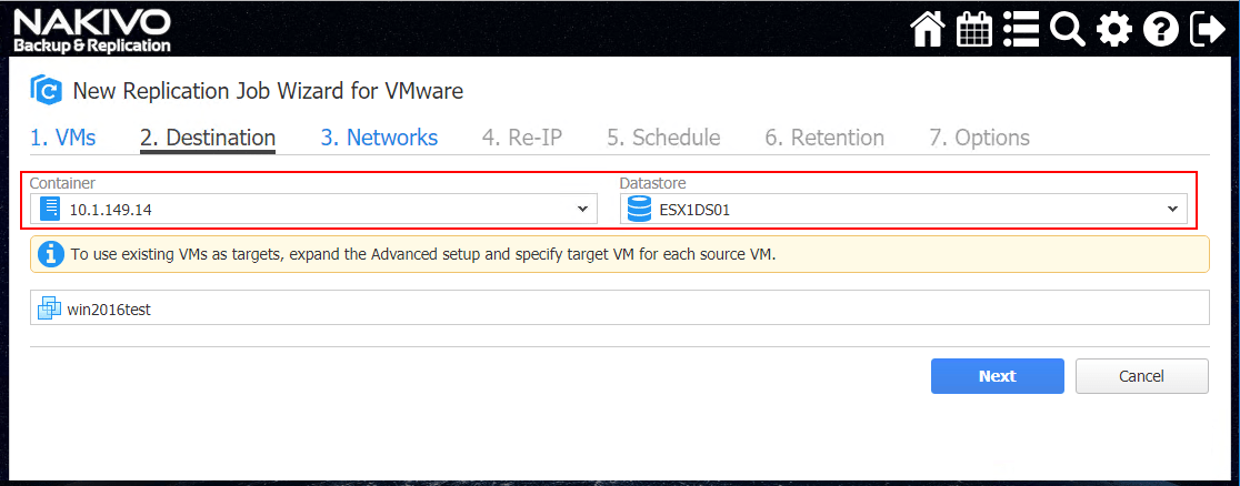 Choose-the-destination-for-the-NAKIVO-Backup-Replication-VMware-vSphere-Replication-Job- Configuring NAKIVO Backup and Replication Automated VM Failover Feature