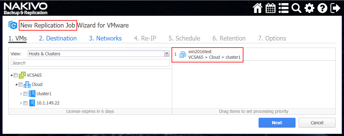 Create-a-new-NAKIVO-Backup-Replication-VMware-vSphere-Replication-job Configuring NAKIVO Backup and Replication Automated VM Failover Feature