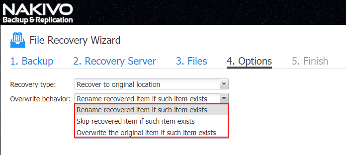 NAKIVO-File-Recovery-Wizard-Overwrite-behavior NAKIVO Backup and Replication v7.4 Instant File Recovery to Source