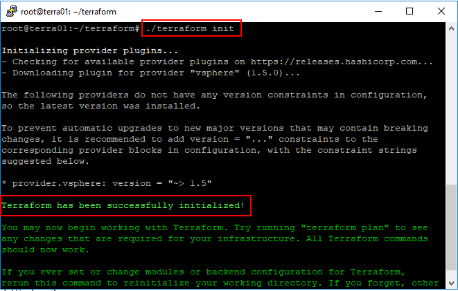 Running-Terraform-init-to-initialize-the-needed-plugins Basic Terraform Installation and VMware vSphere Automation