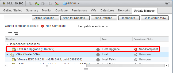 Scanning-the-host-shows-non-compliant-for-the-ESXi-6.7-upgrade Upgrading VMware vSphere vSAN 6.6 to 6.7
