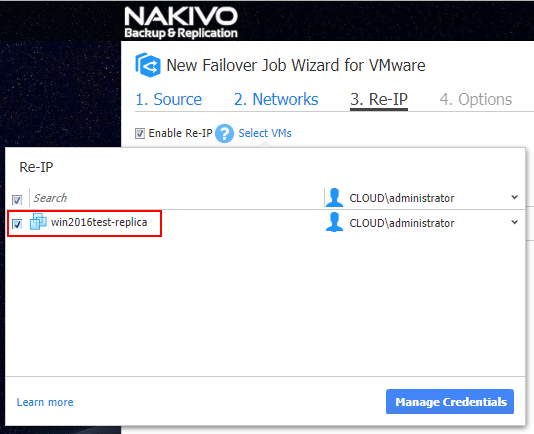 Select-the-VMs-and-rules-to-apply-for-Re-IP-in-the-VM-Automated-Failover-Job Configuring NAKIVO Backup and Replication Automated VM Failover Feature