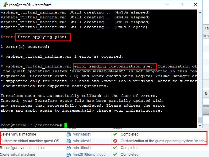 Terraform-customization-spec-error-encountered-virtual-machine-is-deleted Basic Terraform Installation and VMware vSphere Automation