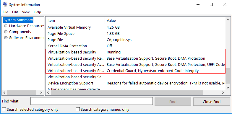 Use-MSINFO32.EXE-to-verify-virtualization-based-security-in-Windows-10 Enabling Windows 10 Virtualization Based Security with vSphere 6.7