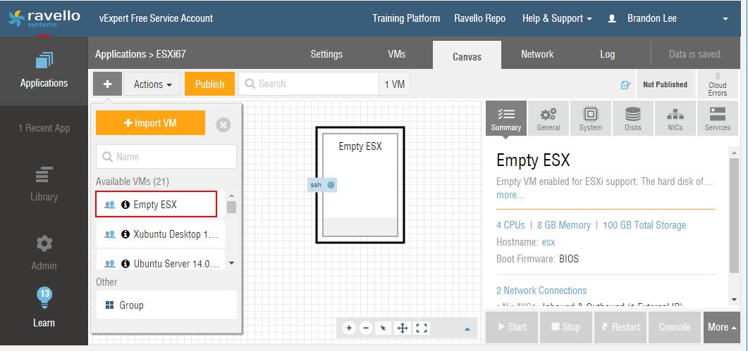 Add-the-Empty-ESX-prebuilt-VM-template-to-the-canvas Installing VMware vSphere ESXi 6.7 in Ravello Cloud Service