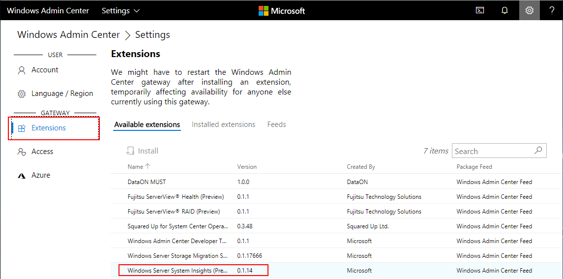 Choose-Windows-Admin-Center-Extensions Windows Server System Insights Predictive Analytics Installation and Features