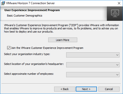Choose-whether-or-not-to-join-the-VMware-CEIP-program Installing VMware Horizon 7.5 Connection Server