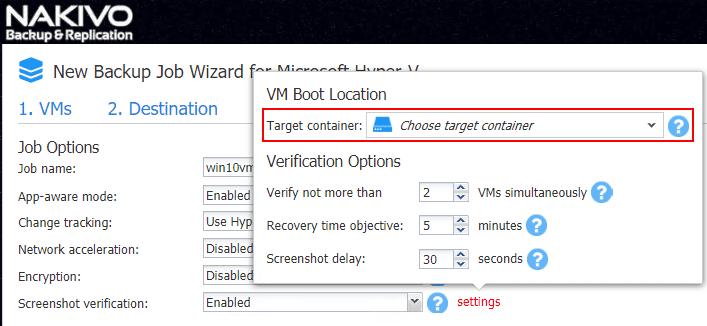 Configure-VM-Boot-Location-for-Hyper-V-backup-screenshot-verification Verify Hyper-V Backups with NAKIVO Backup and Replication v7.4 Screenshot Verification