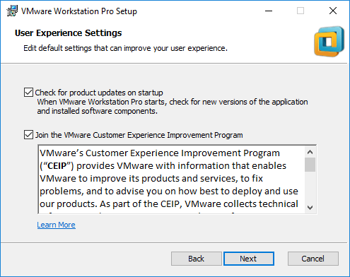 Product-Updates-and-CEIP-options VMware Workstation Pro Tech Preview 2018 Released with New Features