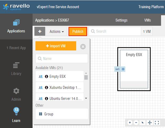 Publishing-the-Ravello-ESXi-6.7-application Installing VMware vSphere ESXi 6.7 in Ravello Cloud Service