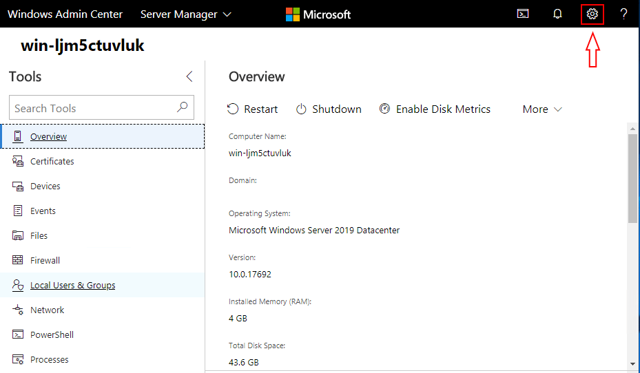 Select-Settings-on-the-Windows-Admin-Center-Console Windows Server System Insights Predictive Analytics Installation and Features