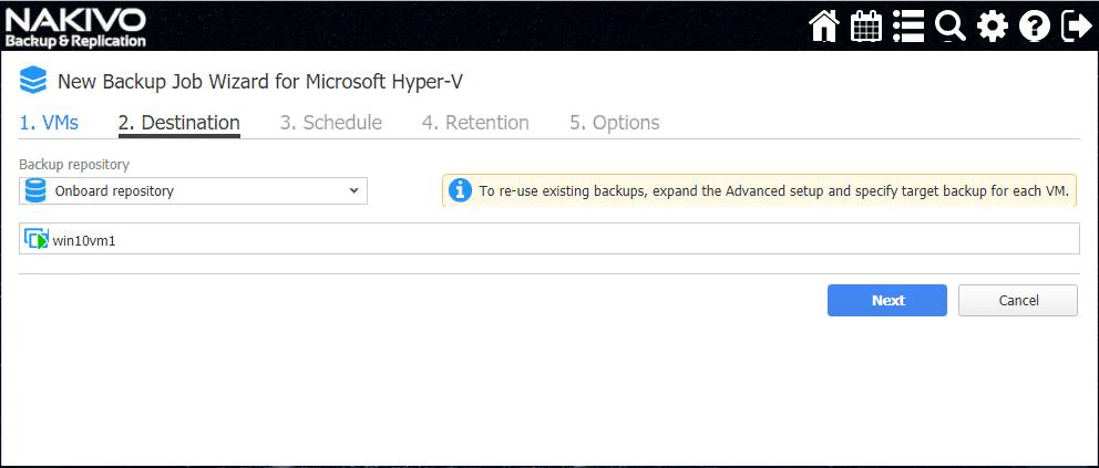 Select-the-NAKIVO-Backup-Replication-storage-repository-for-Hyper-V-backups Verify Hyper-V Backups with NAKIVO Backup and Replication v7.4 Screenshot Verification