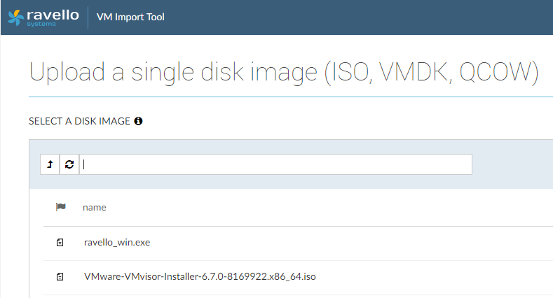Select-the-disk-image-to-upload-to-Ravello Installing VMware vSphere ESXi 6.7 in Ravello Cloud Service