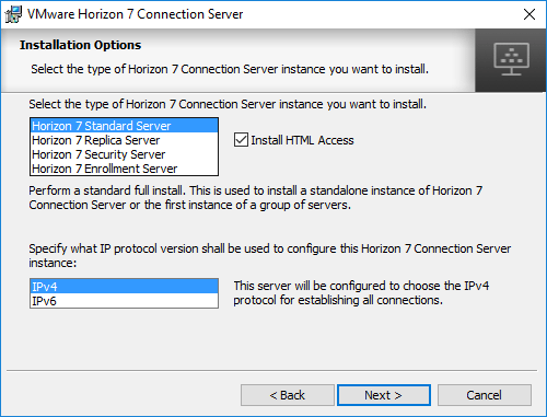 Selecting-the-Standard-Horizon-Connection-Server-in-the-Install-Options Installing VMware Horizon 7.5 Connection Server