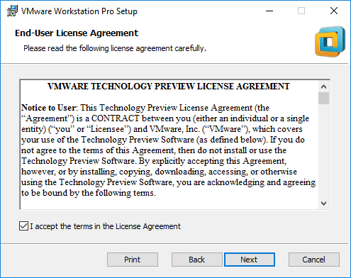 VMware-Workstation-Pro-Tech-Preview-2018-EULA VMware Workstation Pro Tech Preview 2018 Released with New Features