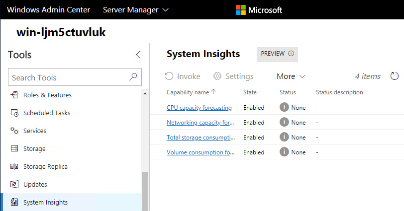 Windows-Server-System-Insights-Preview-Installed Windows Server System Insights Predictive Analytics Installation and Features