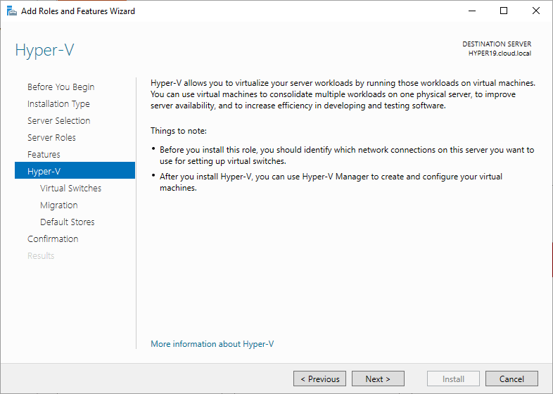Beginning-Hyper-V-configuration-during-role-installation Windows Server 2019 Preview 17709 with New Hyper-V Released